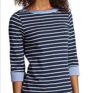 Nautica 3/4 Chambray Cuff Stripe Knit Pullover Top